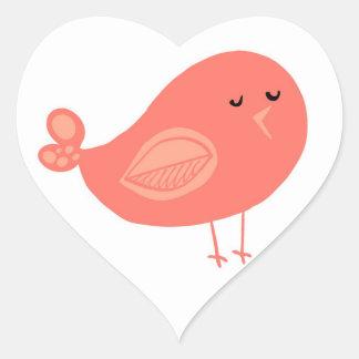 Salmon Bird Heart Sticker