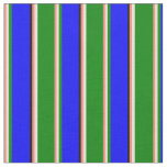 [ Thumbnail: Salmon, Bisque, Green, Blue & Black Lined Pattern Fabric ]