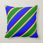 [ Thumbnail: Salmon, Bisque, Green, Blue & Black Lined Pattern Throw Pillow ]