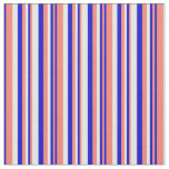 [ Thumbnail: Salmon, Blue, and White Colored Striped Pattern Fabric ]