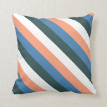 [ Thumbnail: Salmon, Blue, Dark Slate Gray, White & Black Lines Throw Pillow ]