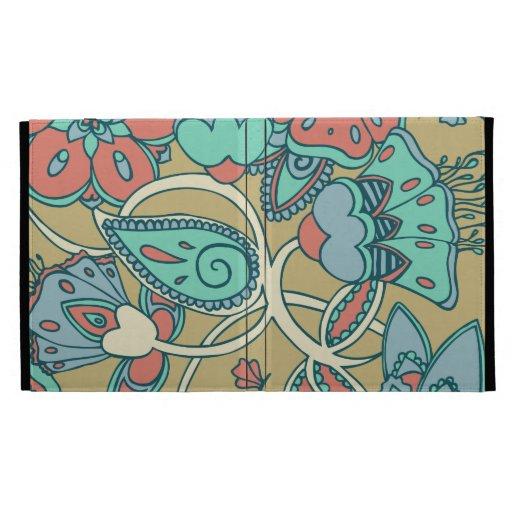 Salmon & Blue Floral iPad Folio Cover