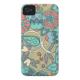 Salmon & Blue Floral iPhone 4 Case