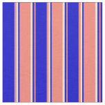 [ Thumbnail: Salmon, Blue & Light Yellow Colored Stripes Fabric ]