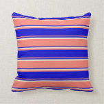 [ Thumbnail: Salmon, Blue & Light Yellow Colored Stripes Pillow ]