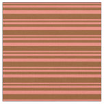 [ Thumbnail: Salmon & Brown Colored Striped/Lined Pattern Fabric ]