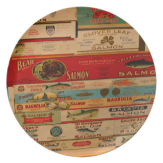 Salmon Can Vintage Antique Labels Food Fish Plate