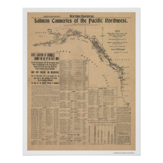 Salmon Canneries of the Pacific Northwest 1901 Poster