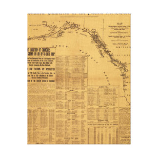 Salmon Canneries of the Pacific Northwest Map Canvas Print
