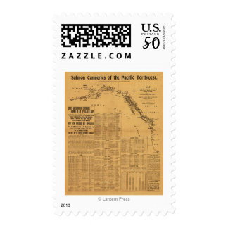 Salmon Canneries of the Pacific Northwest Map Postage