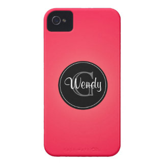 Salmon Color Black Circle Monogrammed iPhone 4/4s Case-Mate iPhone 4 Case