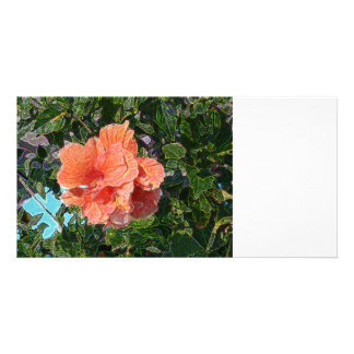 salmon colored hibiscus abstract sparkle customized photo card