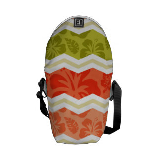 Salmon, Coral, Orange, and Green Tropical Pattern Courier Bag