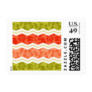 Salmon, Coral, Orange, and Green Tropical Pattern Postage Stamps