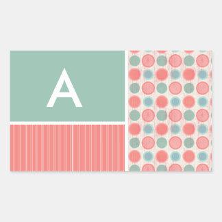 Salmon, Coral Pink, & Seafoam Polka Dots Rectangular Sticker