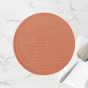 Beach Themed Salmon Coral Weave Mesh Look Cake Stand