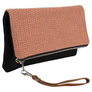 Salmon Coral Weave Mesh Look Clutch