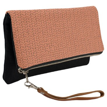 Beach Themed Salmon Coral Weave Mesh Look Clutch