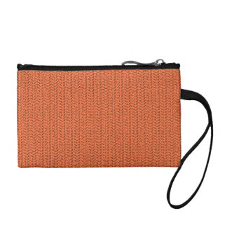 Salmon Coral Weave Mesh Look Coin Purse