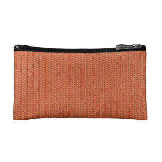 Salmon Coral Weave Mesh Look Makeup Bag