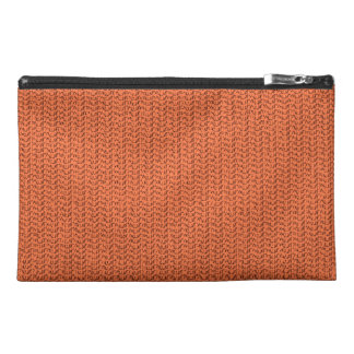 Salmon Coral Weave Mesh Look Travel Accessory Bag