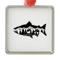 Salmon Country Metal Ornament