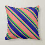 [ Thumbnail: Salmon, Dark Blue & Lime Green Colored Lines Throw Pillow ]