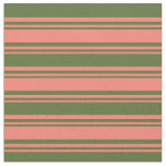 [ Thumbnail: Salmon & Dark Olive Green Colored Lined Pattern Fabric ]