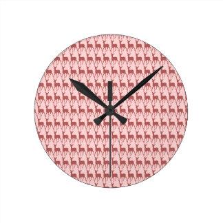 Salmon Deer Pattern Background Round Clock