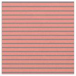[ Thumbnail: Salmon & Dim Grey Colored Striped Pattern Fabric ]