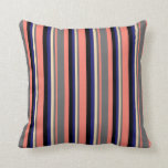 [ Thumbnail: Salmon, Dim Grey, Tan, Midnight Blue & Black Throw Pillow ]