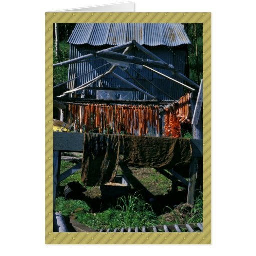 Salmon Drying on Racks at Kaltag Greeting Card