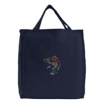 Salmon Embroidered Tote Bag
