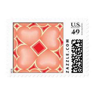 Salmon fade hearts tile pattern stamps