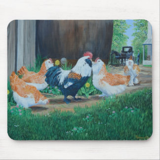 Salmon Favorelle chickens/ Amish buggy Mouse Pad