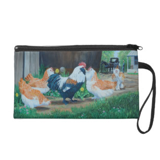 Salmon Favorelle chickens/Amish buggy Wristlet Purse