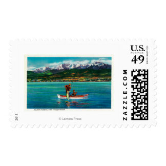 Salmon Fishing in Port Angeles Harbor Stamps