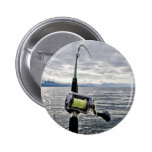 Salmon Fishing Rod Pinback Button