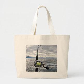 Salmon Fishing Rod Tote Bags