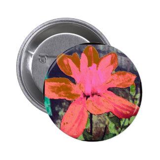 Salmon Floral Dahlia Flower Pattern Button