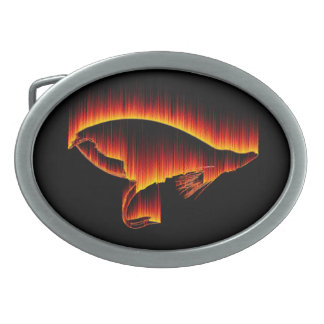 Salmon Fly Flame design Oval Belt Buckle