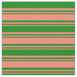 [ Thumbnail: Salmon & Green Colored Lined/Striped Pattern Fabric ]