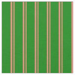 [ Thumbnail: Salmon & Green Colored Stripes Fabric ]