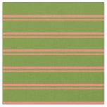 [ Thumbnail: Salmon & Green Lined Pattern Fabric ]