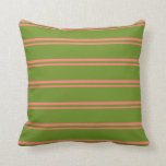 [ Thumbnail: Salmon & Green Lined Pattern Throw Pillow ]