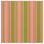 [ Thumbnail: Salmon & Green Lines Fabric ]