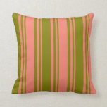 [ Thumbnail: Salmon & Green Lines Throw Pillow ]