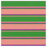 [ Thumbnail: Salmon, Green & Purple Colored Striped Pattern Fabric ]