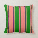 [ Thumbnail: Salmon, Green & Purple Colored Striped Pattern Throw Pillow ]