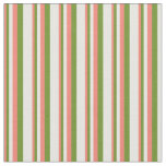 [ Thumbnail: Salmon, Green & White Colored Pattern of Stripes Fabric ]